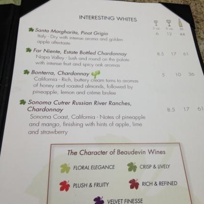 Parte da carta de vinhos do Beau de Vin